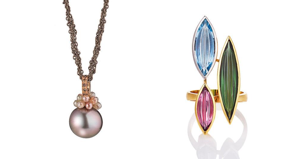"links: Kette ""Rendezvous"", 18 Karat Roségold, Sterling-Silber, Brillanten, Diamantbriolettes, Tahiti-Zuchtperle | rechts: Ring ""Erotik"", 18 Karat Gelbgold, Platin 950, Turmaline, Aquamarin"